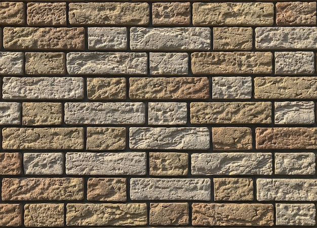 Schmutziger rauer gelegentlicher gelber tonbacksteinmauerbeschaffenheitshintergrund.