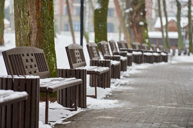 Schneebedeckte bänke unter frostigen winterbäumen im park