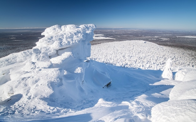 Schneebedeckte berge und bäume im kalten polarwinter bei klarem kaltem wetter. winterlandschaft.