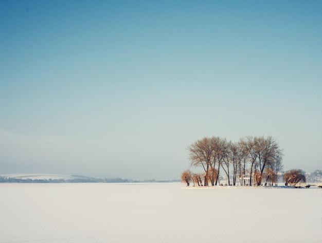 Schneebedeckte gefrorene insel