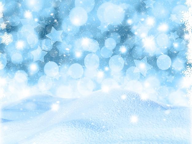 Schneebedeckte landschaft 3d auf bokeh lichtern und sternhintergrund