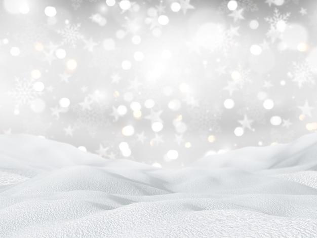 Schneebedeckte landschaft 3d auf weihnachtsschneeflocken und sternhintergrund