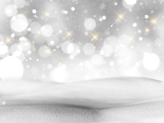 Schneebedeckte landschaft 3d mit bokeh lichtern und sternen