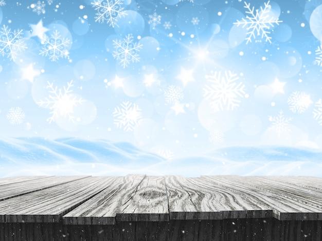 Schneebedeckte landschaft 3d mit fallenden schneeflocken und holztisch