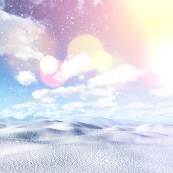 Schneebedeckte landschaft 3d mit weinleseeffekt