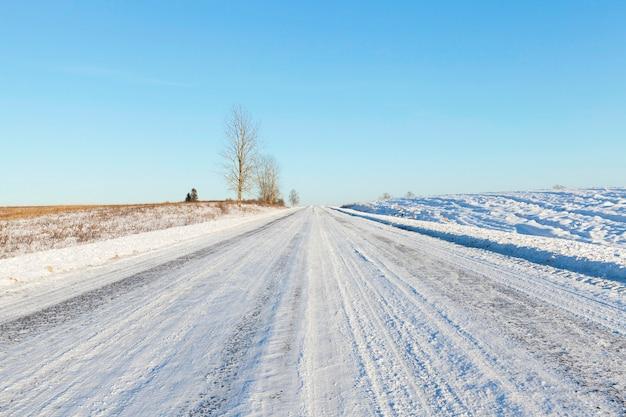 Schneebedeckte landstraße durch felder gebaut. am straßenrand wachsen ein paar bäume. winterlandschaft