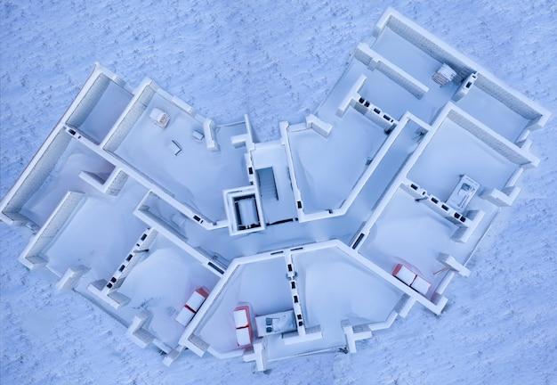 Schneebedeckte verlassene baustelle
