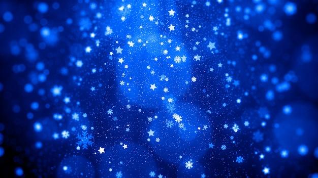 Schneeflocken isoliert auf blau