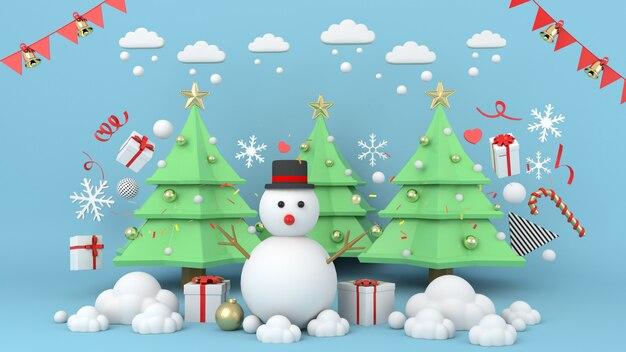 Schneemann, der auf weihnachten, szenen-podiumanzeige der wiedergabe 3d mit weihnachtsbaum steht. - 3d abbildung