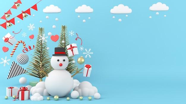 Schneemann, der auf weihnachtshintergrund steht