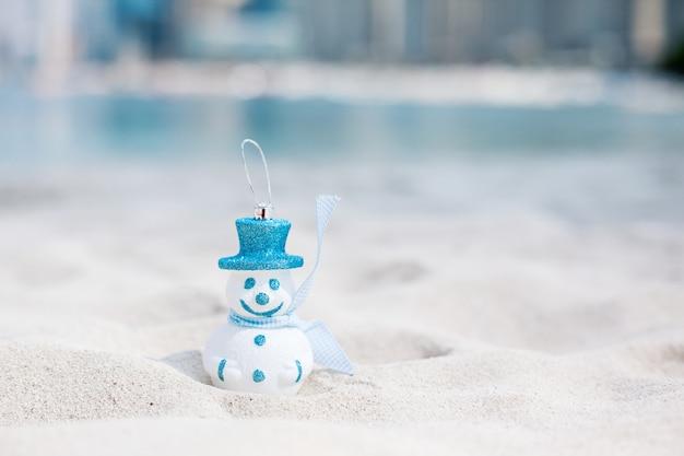 Schneemann im blauen hut am strand