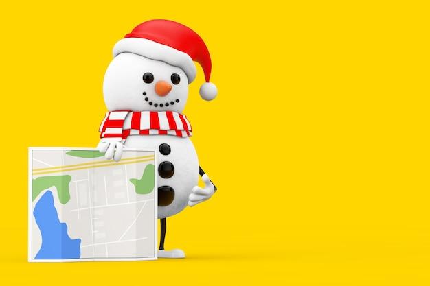 Schneemann im weihnachtsmann-hut-charakter-maskottchen mit abstrakter stadtplan-karte auf einem gelben hintergrund. 3d-rendering