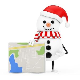 Schneemann im weihnachtsmann-hut-charakter-maskottchen mit abstrakter stadtplan-karte auf einem weißen hintergrund. 3d-rendering