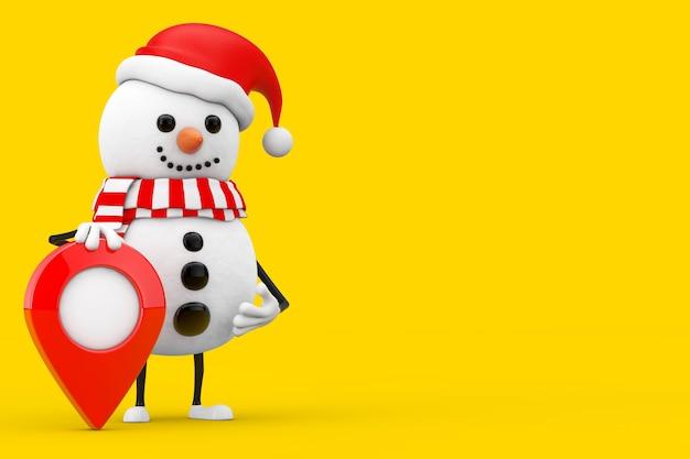 Schneemann im weihnachtsmann-hut-charakter-maskottchen mit karten-ziel-zeiger-pin auf einem gelben hintergrund. 3d-rendering