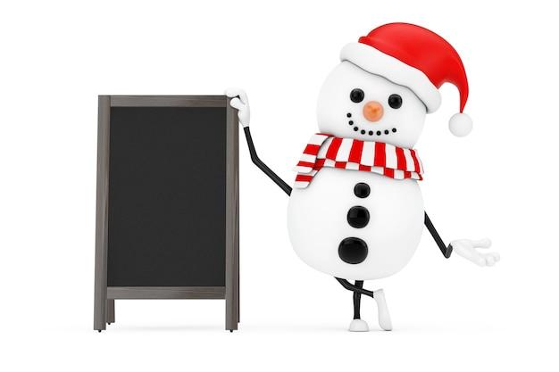 Schneemann im weihnachtsmann-hut-charakter-maskottchen mit leeren hölzernen menü-tafeln im freienanzeige auf einem weißen hintergrund. 3d-rendering