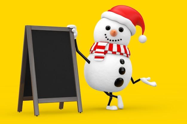 Schneemann im weihnachtsmann-hut-charakter-maskottchen mit leeren hölzernen menütafeln im freienanzeige auf einem gelben hintergrund. 3d-rendering