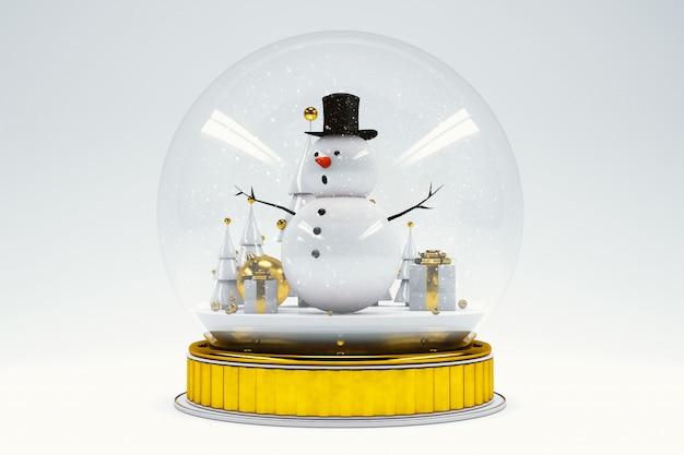 Schneemann innerhalb einer haube, die weihnachten feiert