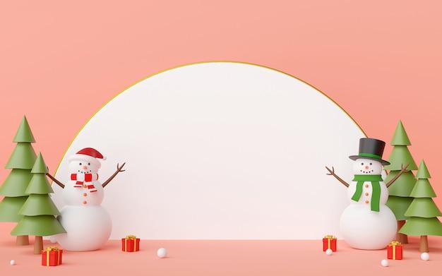 Schneemann und weihnachtsgeschenke mit weißer leerstelle auf einem blauen hintergrund 3d rendering