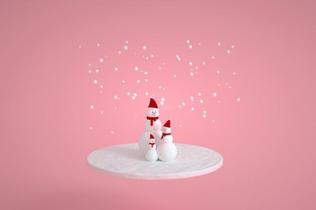 Schneemannfamilie mit schal und mütze in rosa farben. weihnachtsschneesymbol.