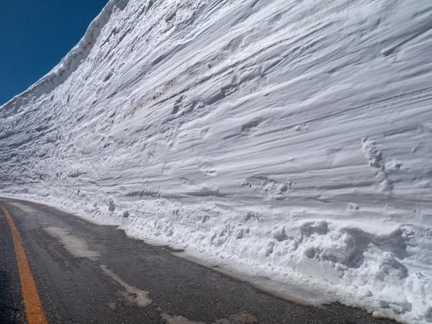 Schneewand mit blauem himmel auf der straße am sonnigen tag