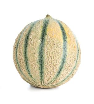 Schneiden sie melone allein auf einem weißen hintergrund aus Premium Fotos