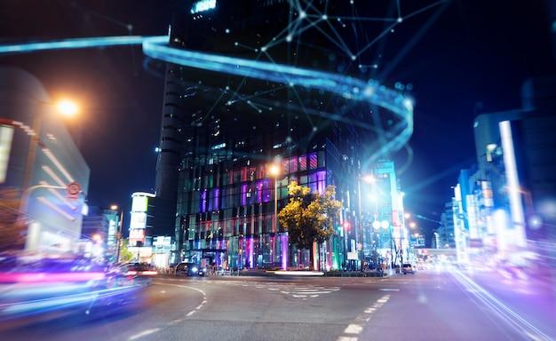 Schnelle internetverbindung in der stadt bei nacht