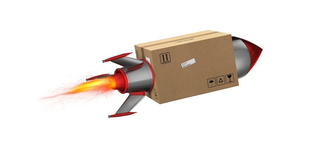 Schnelle lieferung des pakets per turbo-rakete. 3d-rendering. feuer, fracht.