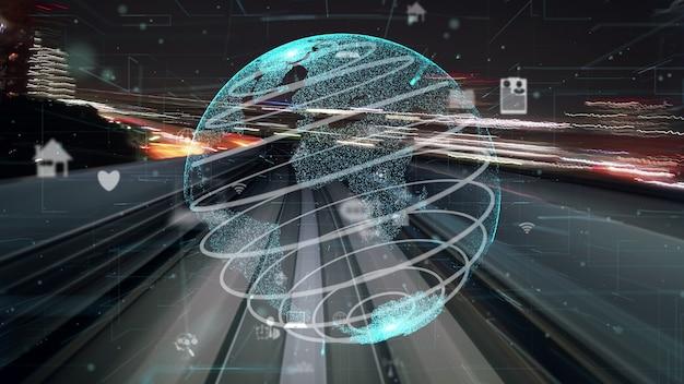 Schneller digitaler datenfluss auf der straße mit globaler modernisierung der netzwerkgrafik