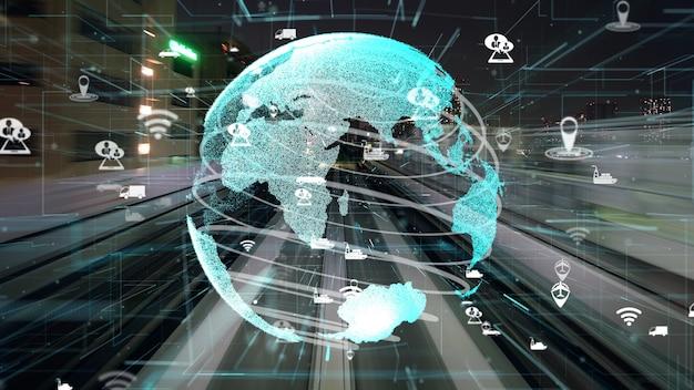 Schneller transportfluss auf der straße mit globaler modernisierung der netzwerkgrafik