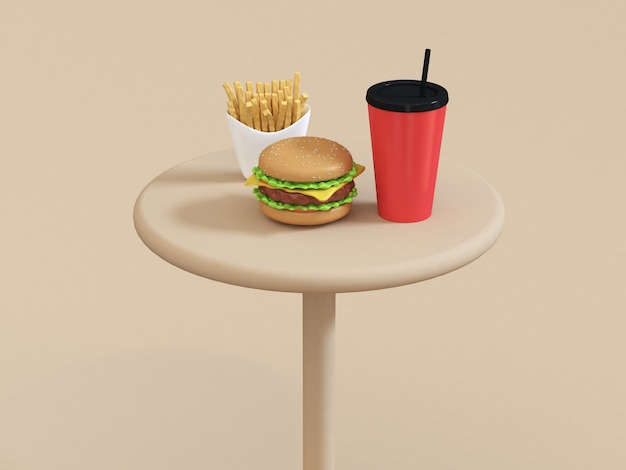 Schnellimbisskarikatur-arthamburger des lebensmittels stellte auf tabelle mit roter schale pommes-frites 3d wiedergabe ein