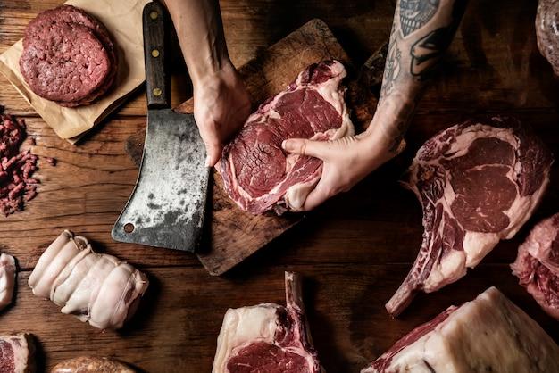 Schnitte der frischen rindfleischnahrungsmittelphotographie-rezeptidee