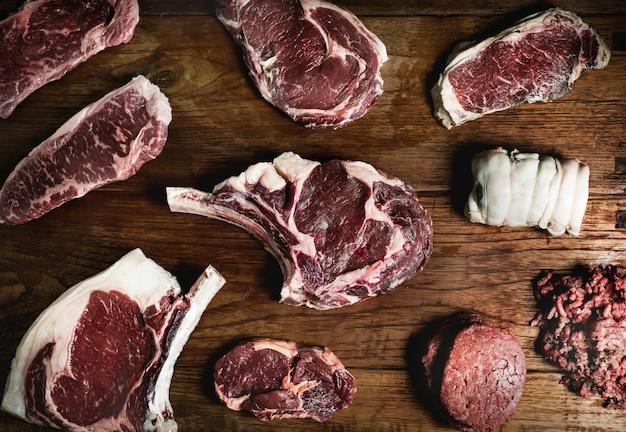 Schnitte der rindfleischlebensmittelphotographie-rezeptidee