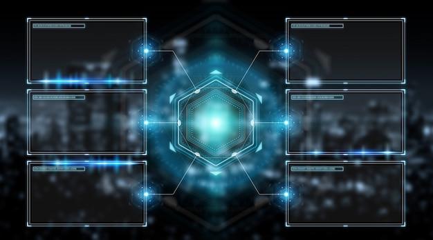 Schnittstelle der digitalen bildschirme mit wiedergabe der hologrammdaten 3d