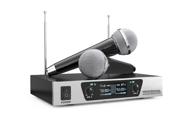 Schnurlose funkmikrofone und sendersystem auf weißem hintergrund. 3d-rendering
