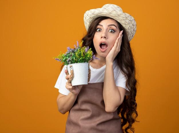Schockierte junge gärtnerin in uniform mit gartenhut legt hand auf gesicht und hält blumentopf isoliert auf orange wand mit kopienraum