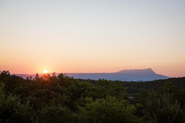 Schöne abendlandschaft mit bergen und grünem wald bei sonnenuntergang