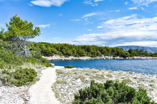 Schöne adria in kroatien. blaue lagune, grüne kiefern, steinige küste. fußweg am meer entlang, schön