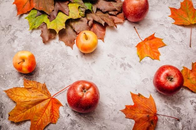 Schöne äpfel auf beton mit ahornblättern