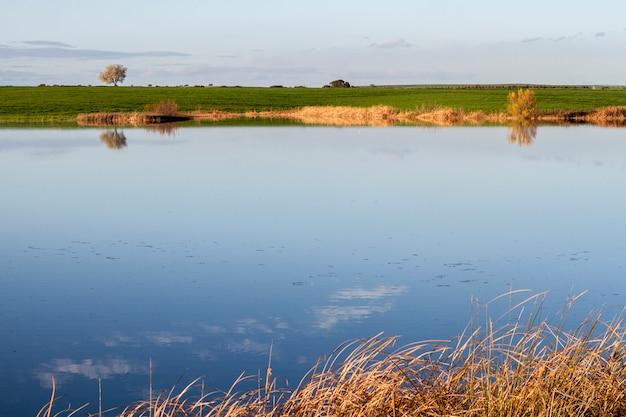 Schöne ansicht einer frühlingslandschaftsseelandschaft auf der alentejo-region, portugal.