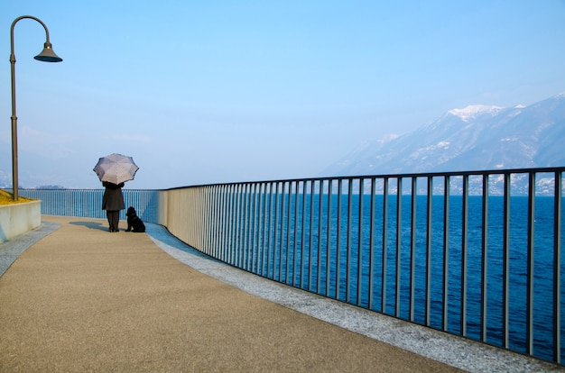 Schöne ansicht einer person mit einem regenschirm und einem hund, die auf einem pier durch den ozean stehen