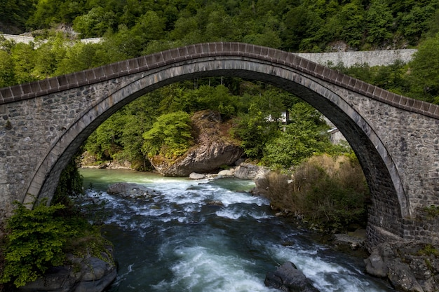 Schöne ansicht einer steinbrücke, die im dorf arhavi kucukkoy, türkei gefangen genommen wird