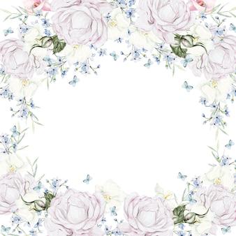Schöne aquarell weiße rosen rahmen auf weißem hintergrund