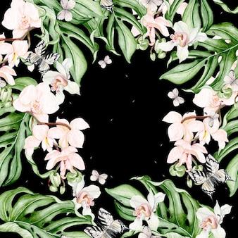 Schöne aquarellkarte mit tropischen blättern, orchideenblume, schmetterling. illustration