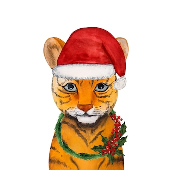 Schöne aquarellzeichnung eines kleinen tigerjungen. vorbereitung auf die feiertage. nahaufnahme, keine leute. herzlichen glückwunsch an die lieben, verwandten, freunde und kollegen