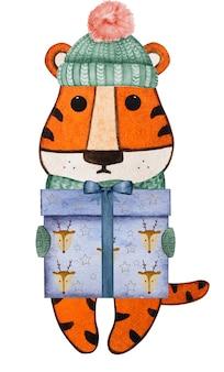 Schöne aquarellzeichnung eines kleinen tigerjungen