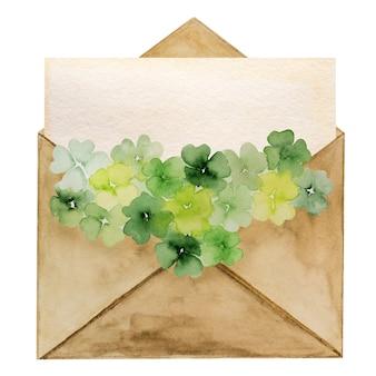 Schöne aquarellzeichnung eines postumschlags mit einem kleeblattmuster. nahaufnahme, keine leute, textur. herzlichen glückwunsch an ihre lieben, verwandten, freunde und kollegen