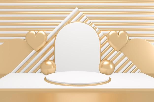 Schöne art adstract gold und weiß podium minimale design-produktszene auf goldenem und weißem hintergrund. 3d-rendering