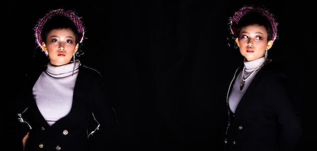 Schöne asiatische 20er jahre frau kurzhaarmode make-up im rollkragenhemd sieht stark aus für die kamera, trägt lila rosa hut, licht von unten und hintergrundbeleuchtung in dunkelschwarzem hintergrund. collage-gruppenpaket