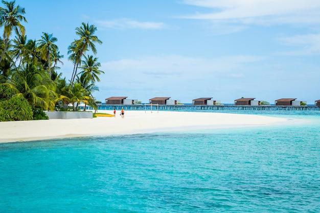 Schöne aufnahme von strand in der nähe des blauen ozeans