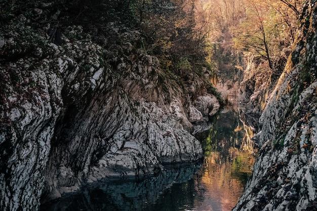 Schöne aussicht auf den canyon river zwischen den felsen the Premium Fotos